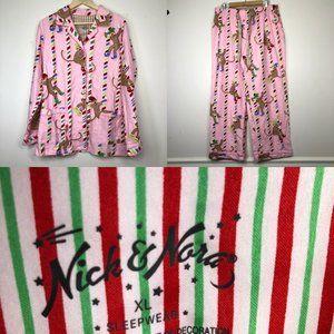 Nick & Nora Pajamas XL Sock Monkey Cotton Flannel